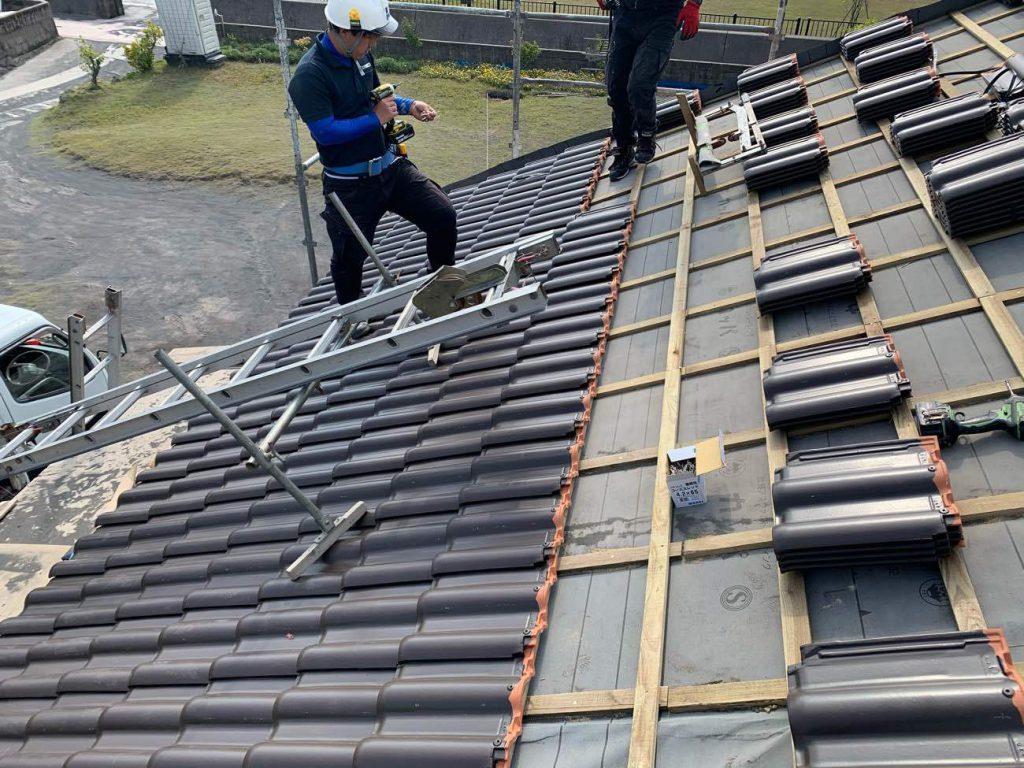 屋根葺き替え工事:垂水市海潟 I様邸