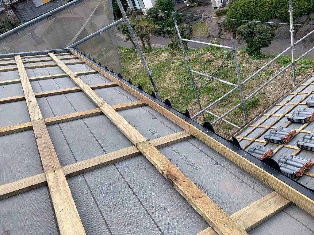 屋根葺き替え工事:鹿児島市桜島西道町 H様邸