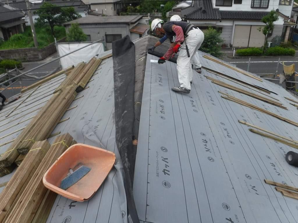 屋根葺き替え工事:垂水市中俣 H様邸