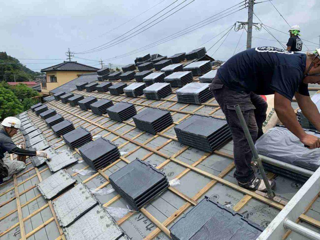 屋根葺き替え工事:垂水市本城 I様邸
